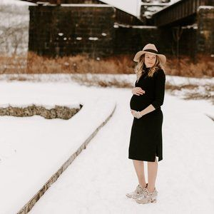 Old Navy Maternity Ribbed Black Turtleneck Dress